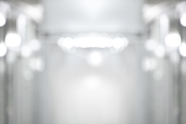 Abstract black and white bokeh background perspective building hallway