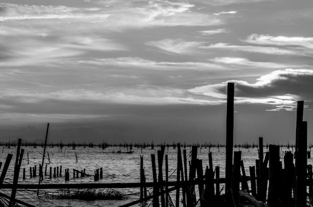 Abstract black and white of songkhla lake in thailand