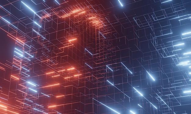 抽象的なブロックワイヤーフレーム構造