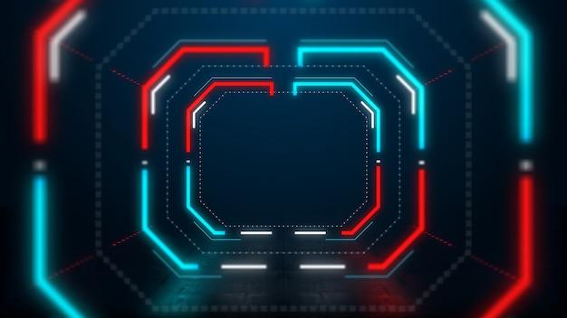 Абстрактный синий и красный неоновый свет шестигранный туннель