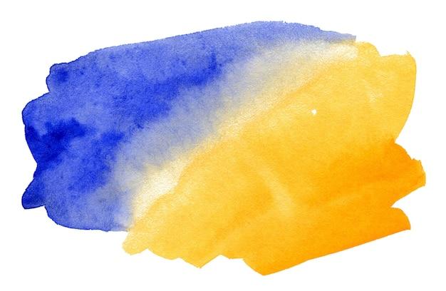Абстрактный синий и желтый акварельный фон, изолированные на белом фоне