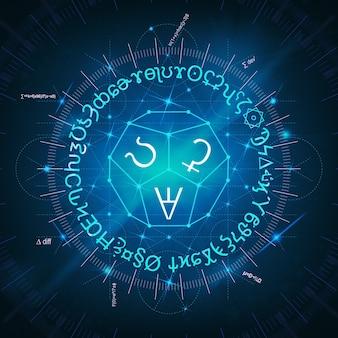 빛나는 마법의 주문, 수식, 표지판, 시계 및 신성한 상징의 추상 파란색 배경