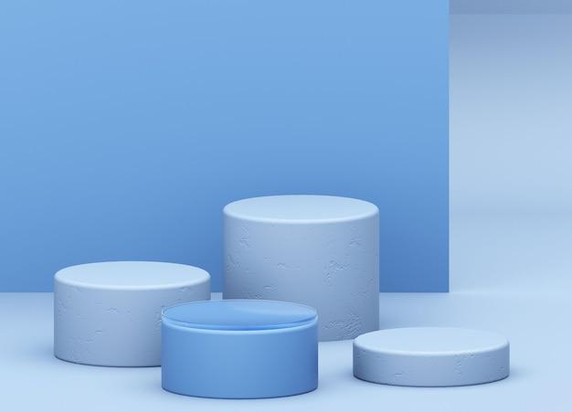 製品の最小限の概念のための幾何学的形状の表彰台と抽象的な青い背景