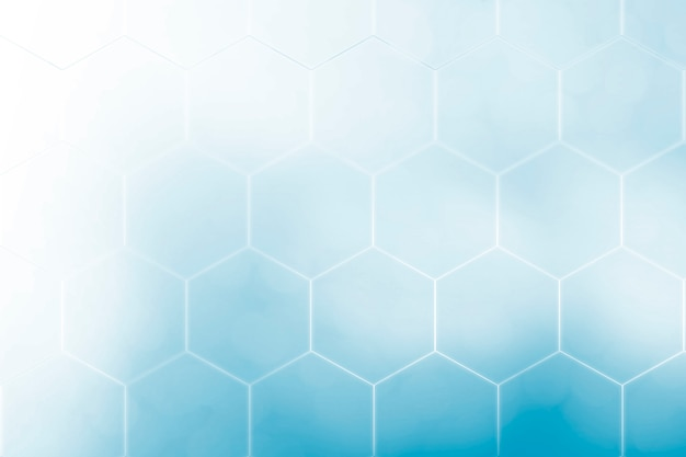Abstract blue background with hexagons and wires technology