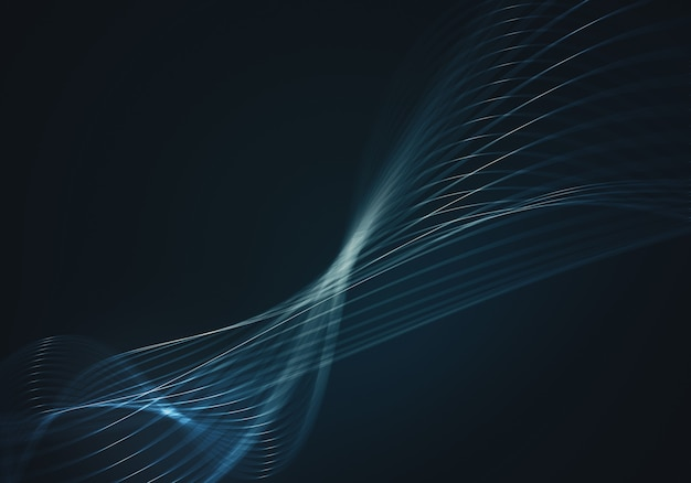 Abstract blue background with lines and dots connected flow