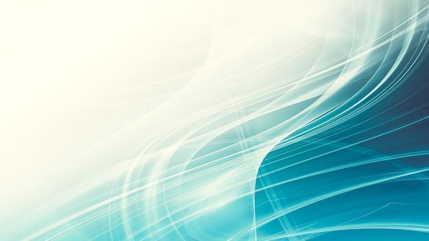 滑らかな輝く線と抽象的な青い背景