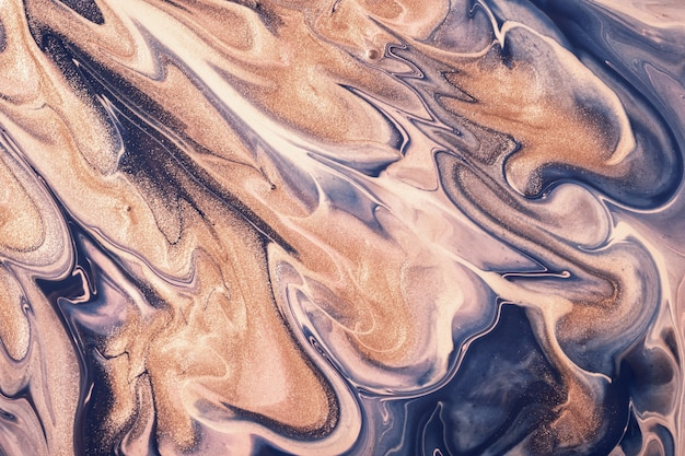 Abstract blue and beige fluid art background