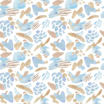 Abstract blue and beige seamless pattern. geometric shapes design style.