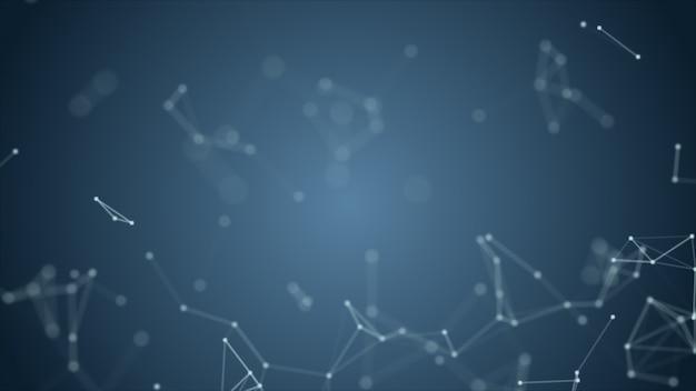 Абстрактный синий размытой геометрии каркасной сети и соединительной точки в пространстве на фоне
