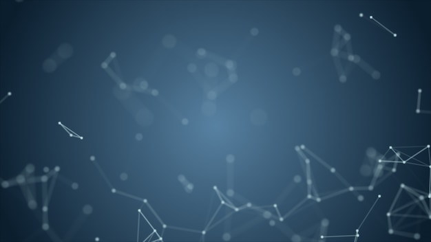 Abstract blue blurred geometry wireframe network and connecting dot in space on background