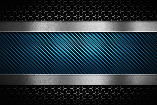 Abstract blue carbon fiber with grey perforated metal and polish metal plate