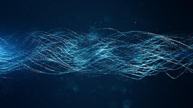 Bokeh와 밝은 배경으로 추상 파란색 디지털 입자 라인 웨이브