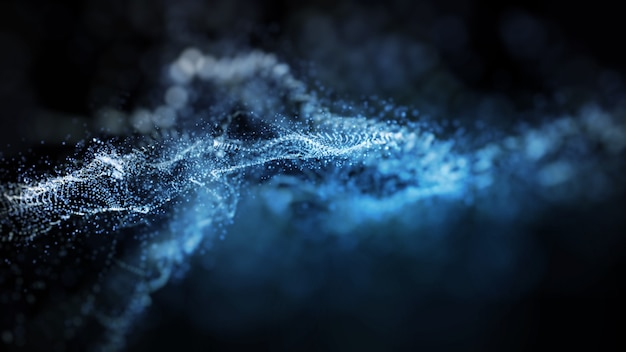 Abstract blue color digital particles wave form network