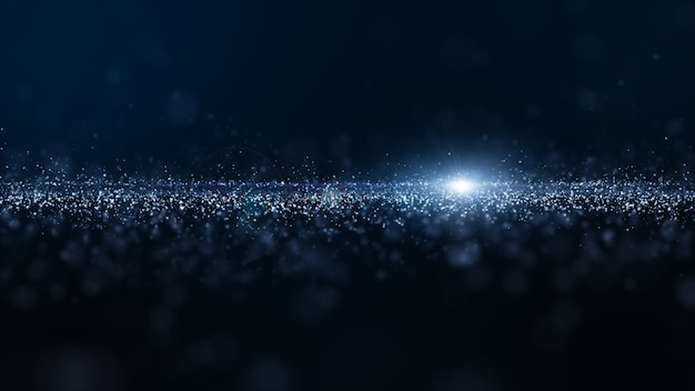 Abstract blue color digital particles wave with dust and light background