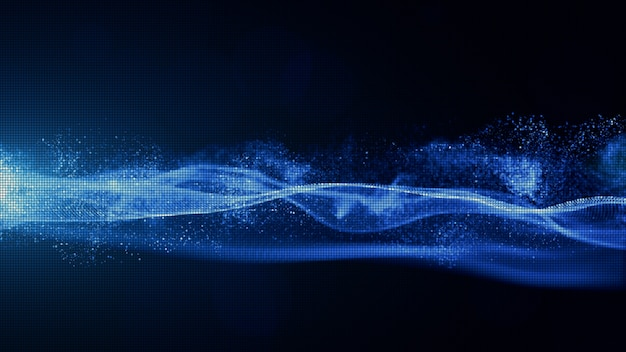Abstract blue color digital particles with dust and light background