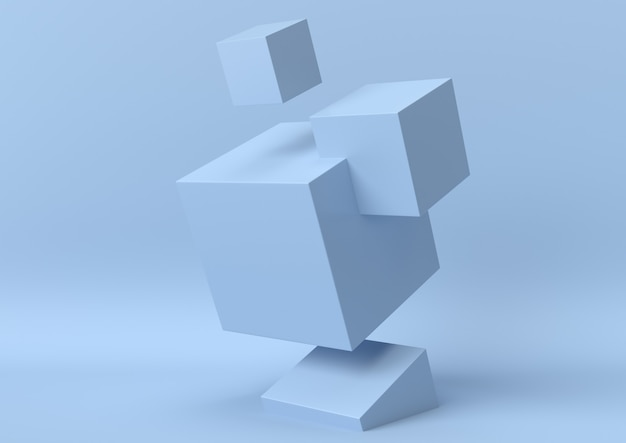 Abstract blue color geometric shape background, modern minimalist, 3d rendering