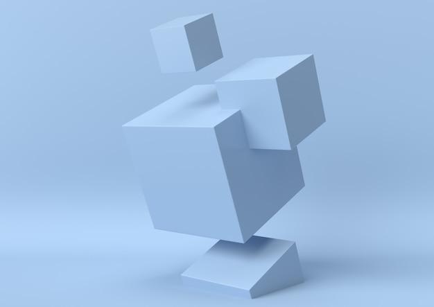 抽象的な青い色の幾何学的図形の背景、モダンなミニマリスト、3 dレンダリング