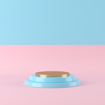 Abstract blue color geometry shape on two tone background, minimal podium for product, 3d rendering