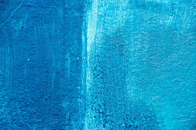 Abstract blue color painting on concrete block background