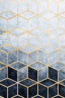 Abstract blue cubic patterned
