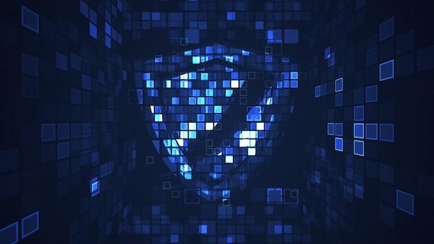 抽象的なブルーサイバーデジタル技術グラフィックの背景
