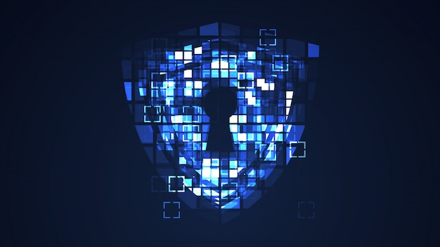 Abstract blue cyber digital technology graphic background