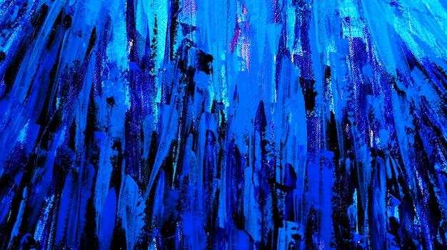Абстрактный синий темный мазок на фоне холста