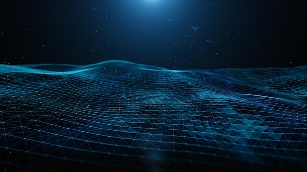 抽象的な青いデジタル粒子、線と点の接続