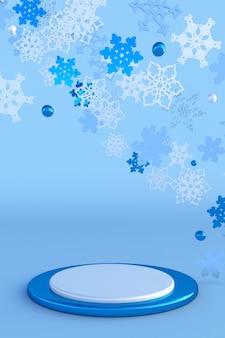 クリスマスの雪片と抽象的な青いお祭りの3d表彰台新年の創造的な冬のモックアップ