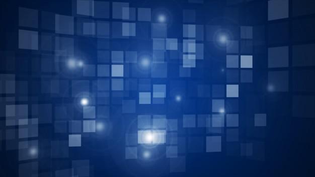 抽象的な青い点滅長方形グリッド流れる視点の背景