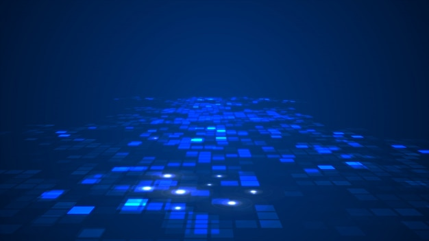 Abstract blue flashing rectangle grid flowing perspective background