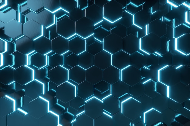 Abstract blue of futuristic surface hexagon pattern with light rays, 3d rendering