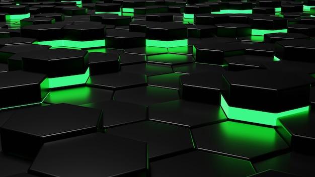 Абстрактный фон с шестигранной узор синего свечения 3d рендеринга изображения