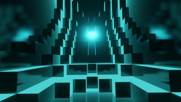 Abstract blue glowing geometry cubes background