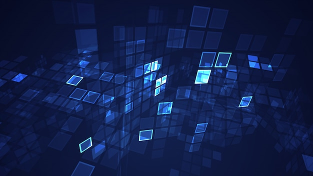 Abstract blue graphic flashing rectangle grid perspective background