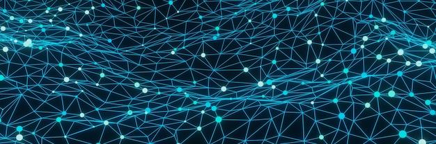 Абстрактный синий фон сетки частиц