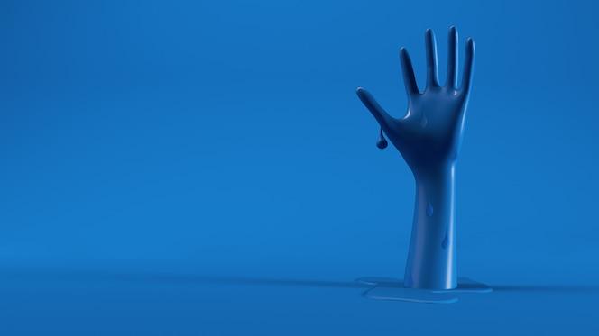 녹는 추상 파란 손