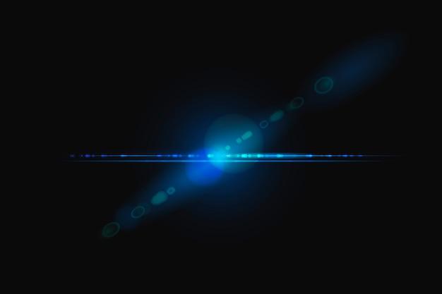 스펙트럼 고스트 디자인 요소가 있는 추상 파란색 렌즈 플레어 무료 사진