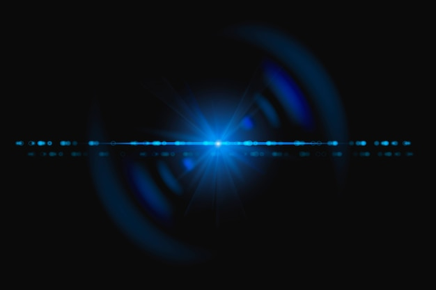 スペクトルゴーストデザイン要素を持つ抽象的な青いレンズフレア