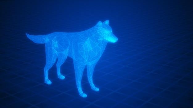 Абстрактный синий светящийся волк из полигонов 3d-рендеринга