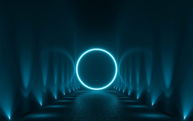 Abstract blue neon light shapes on black background. 3d render
