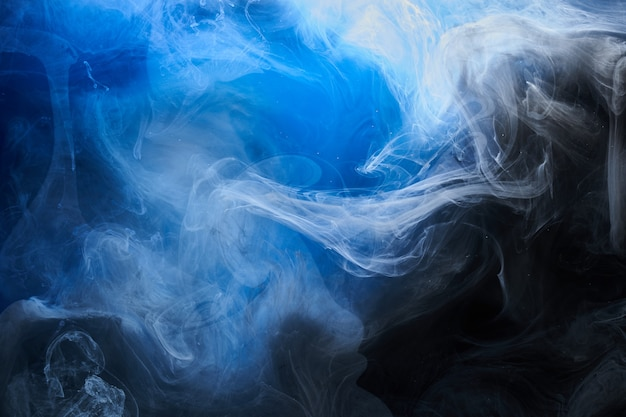 Abstract blue ocean background. underwater swirling smoke, vibrant sea colors wallpaper, wave paint in water