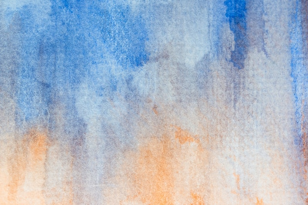 Abstract blue and orange watercolor background. art hand paint