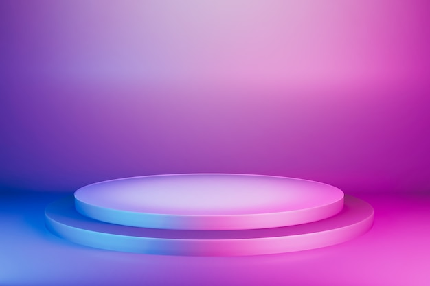 Abstract blue pink vibrant pedestal stage