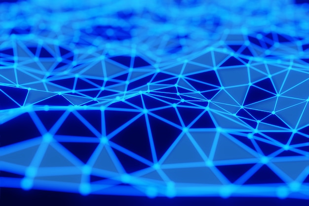 Abstract blue plexus glowing waving line dots connect technology futuristic animation background 3d rendering