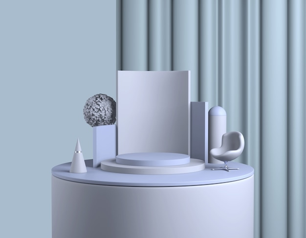 추상 파란색 연단. 파스텔 제품 플랫폼, 최소한의 기하학적 모양. 3d 렌더링