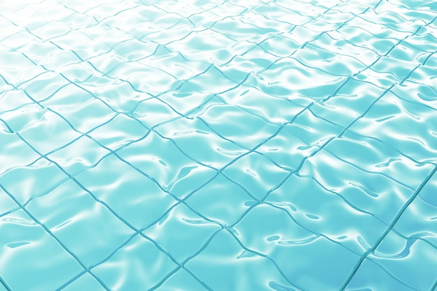 太陽の反射極端なクローズアップの背景と抽象的な青いプールの水。 3dレンダリング。