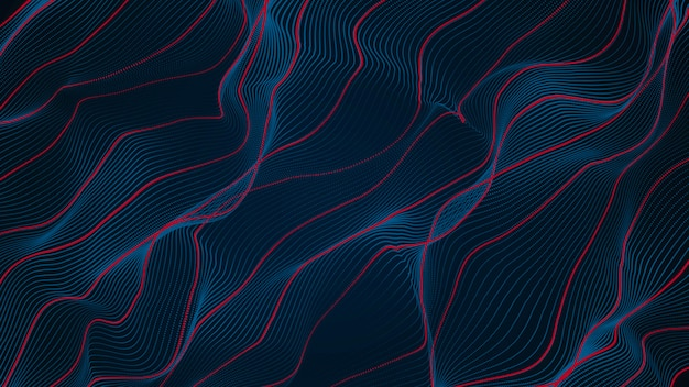 Abstract blue and red line wave curve background