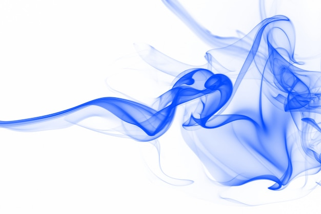 Abstract blue smoke movement on white background