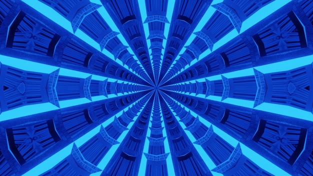 Abstract blue tunnel background formed with symmetric abstract ornament